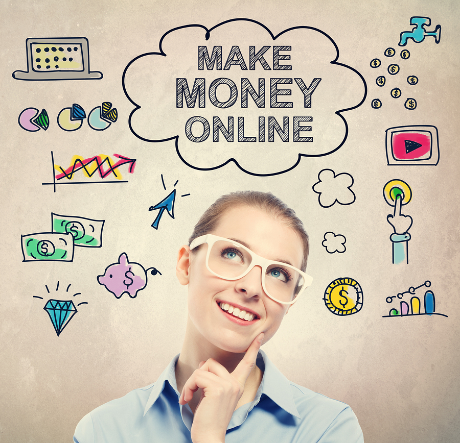Make Money Online Idea Sketch With Young Business Woman