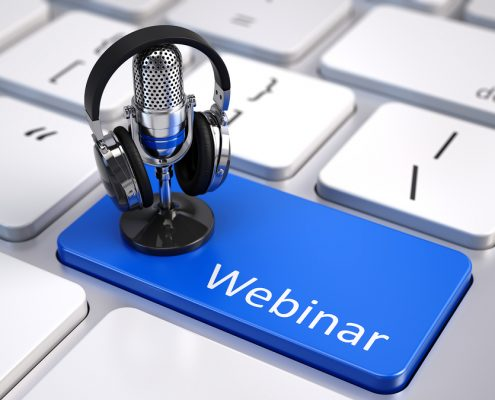 Webinar, Online Education and Training concept - Blue Webinar bu